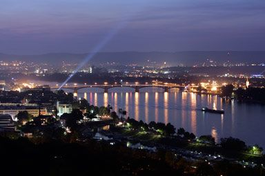 State Capital Mainz By Night Looking Towards Wiesbaden Mainz