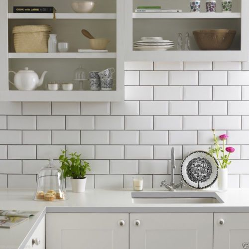 Gloss White Metro Bevelled Brick Kitchen Ceramic Wall Tiles 10 X Captivating Kitchen Wall Tile Design Inspiration