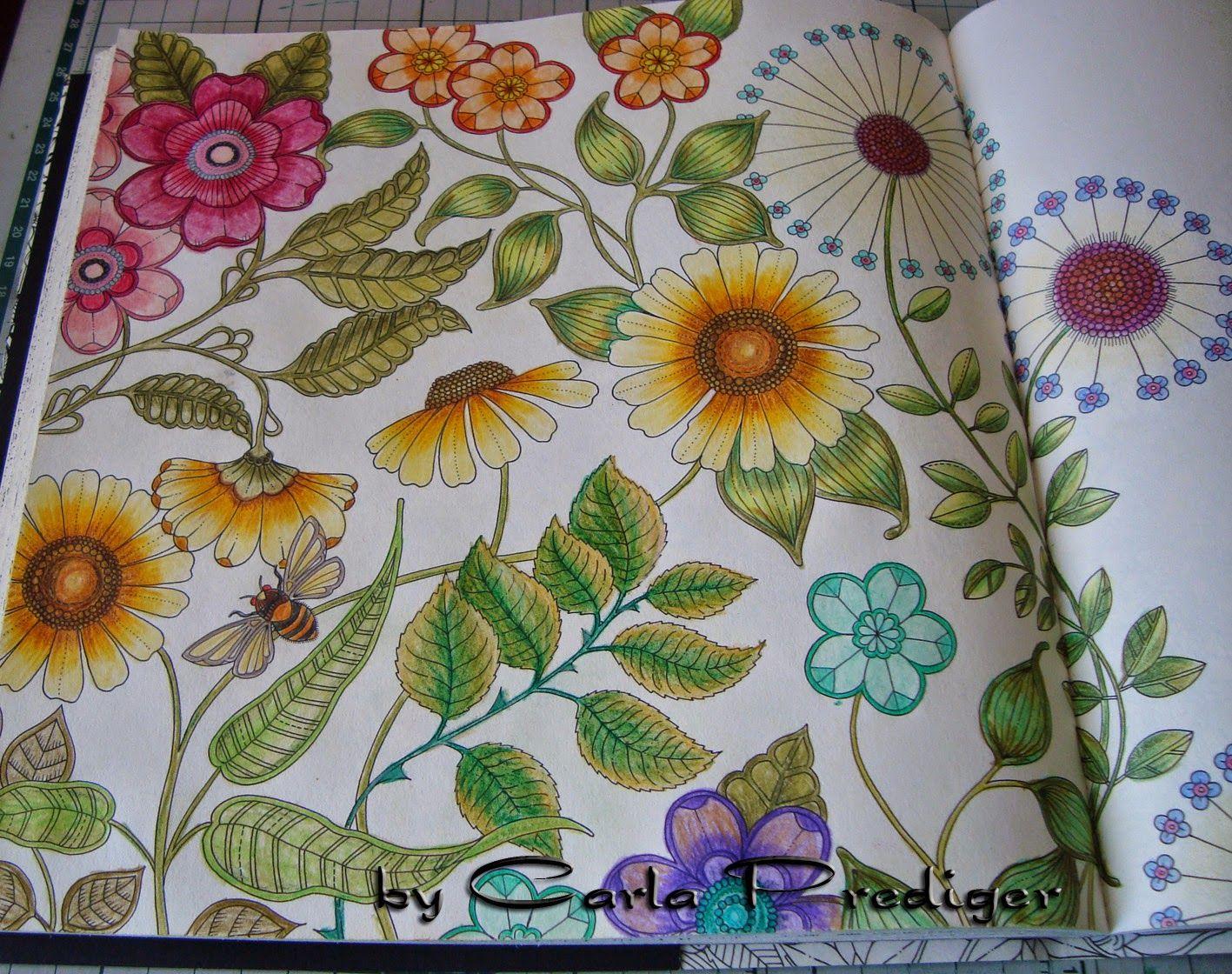 Zendoodle coloring enchanting gardens - Big Flowers Double Page Secret Garden Flores Grandes P Gina Dupla Jardim Secreto Johanna Basford