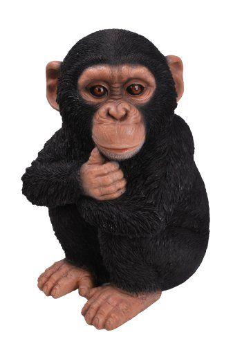 Sitting Chimpanzee Statue Sculpture Ornament Garden Lawn Figure Resin Art New