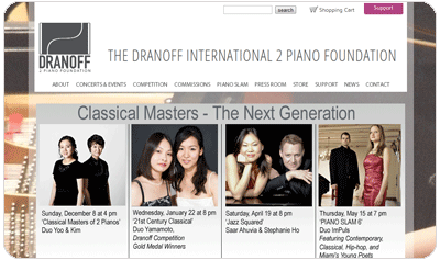 A site I created for The Dranoff 2 Piano Foundation.