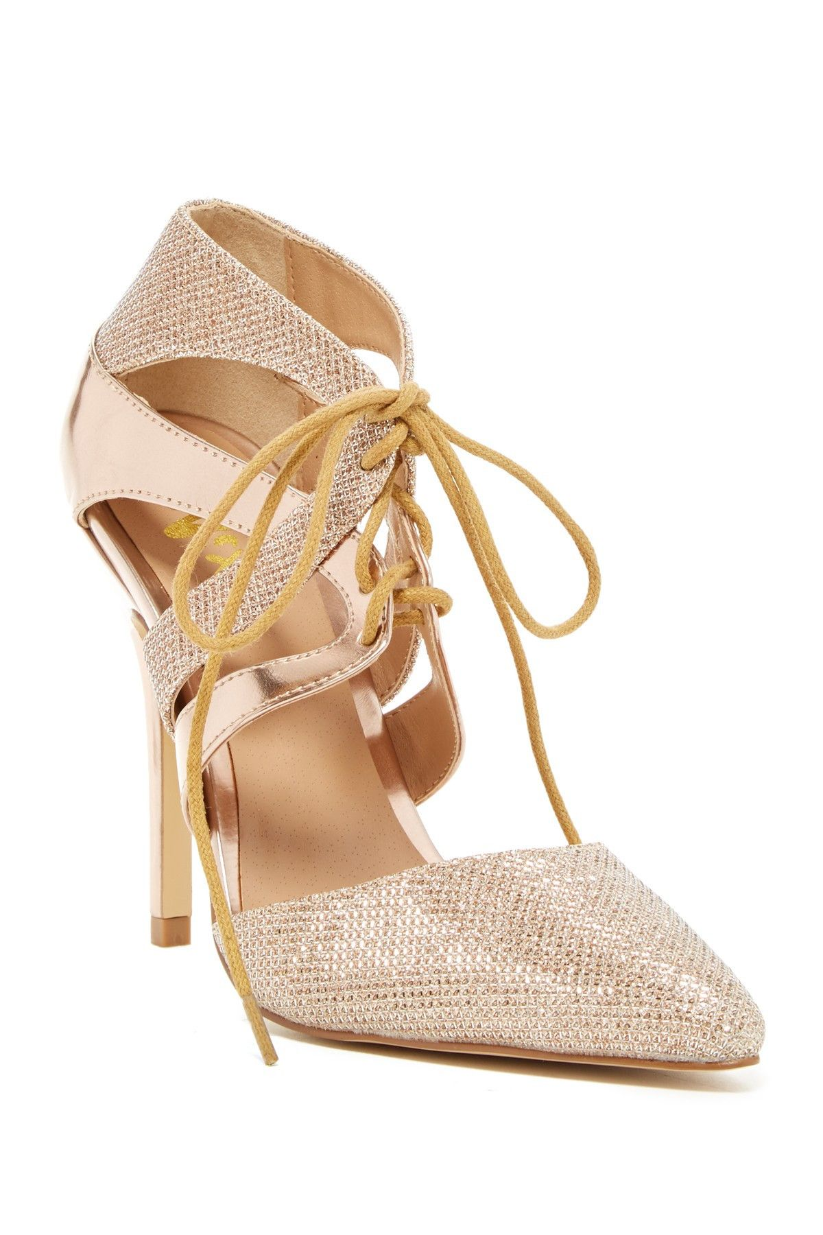 73daec3c38e9c Adding these nude + gold lace-up pumps to our shoe collection ...