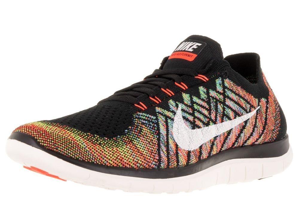 771f66ebaee01 Nike Free 4.0 Flyknit Mens Running Shoes Black Rainbow Multi-Color 717075  011…