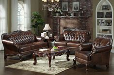 European Style Living Room Leather 3 Piece Sofa Set Melodyhome