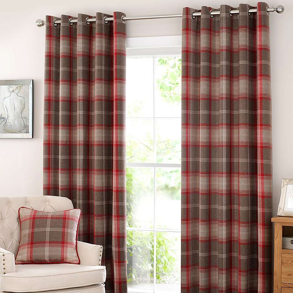 Highland Check Red Lined Eyelet Curtains Home Stuff