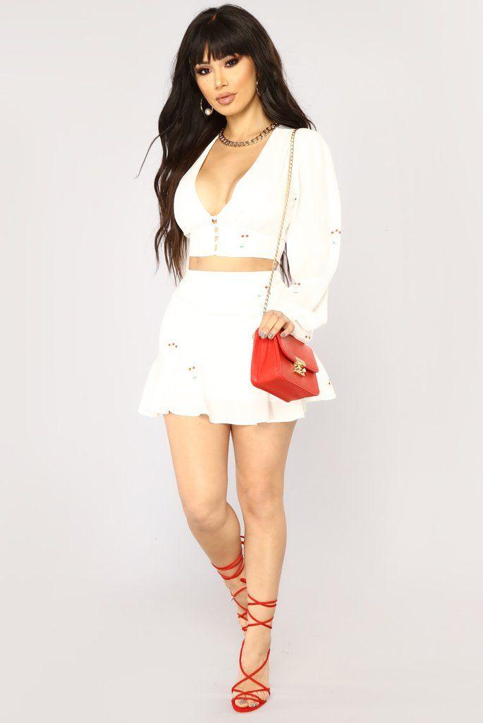 Cherry Lips Skirt Set - White