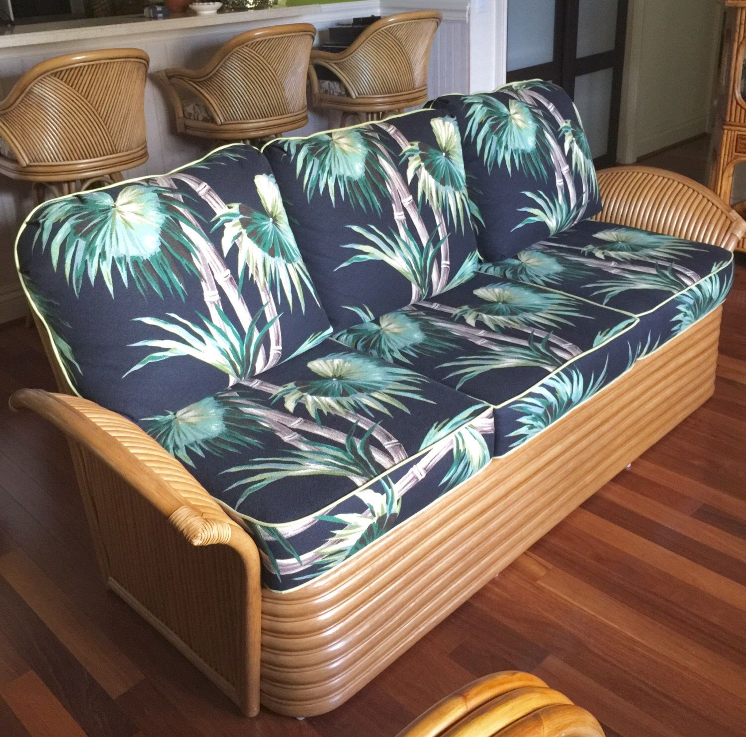 Very rare Art Deco style fan arm rattan sofa Available at s