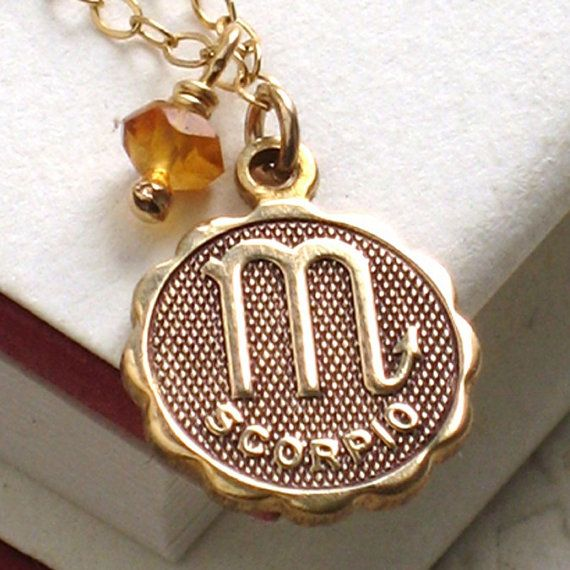 necklace zodiac pendant plastic tortoise tone reneemaevintage shell gold medallion vintage pin by scorpio resin