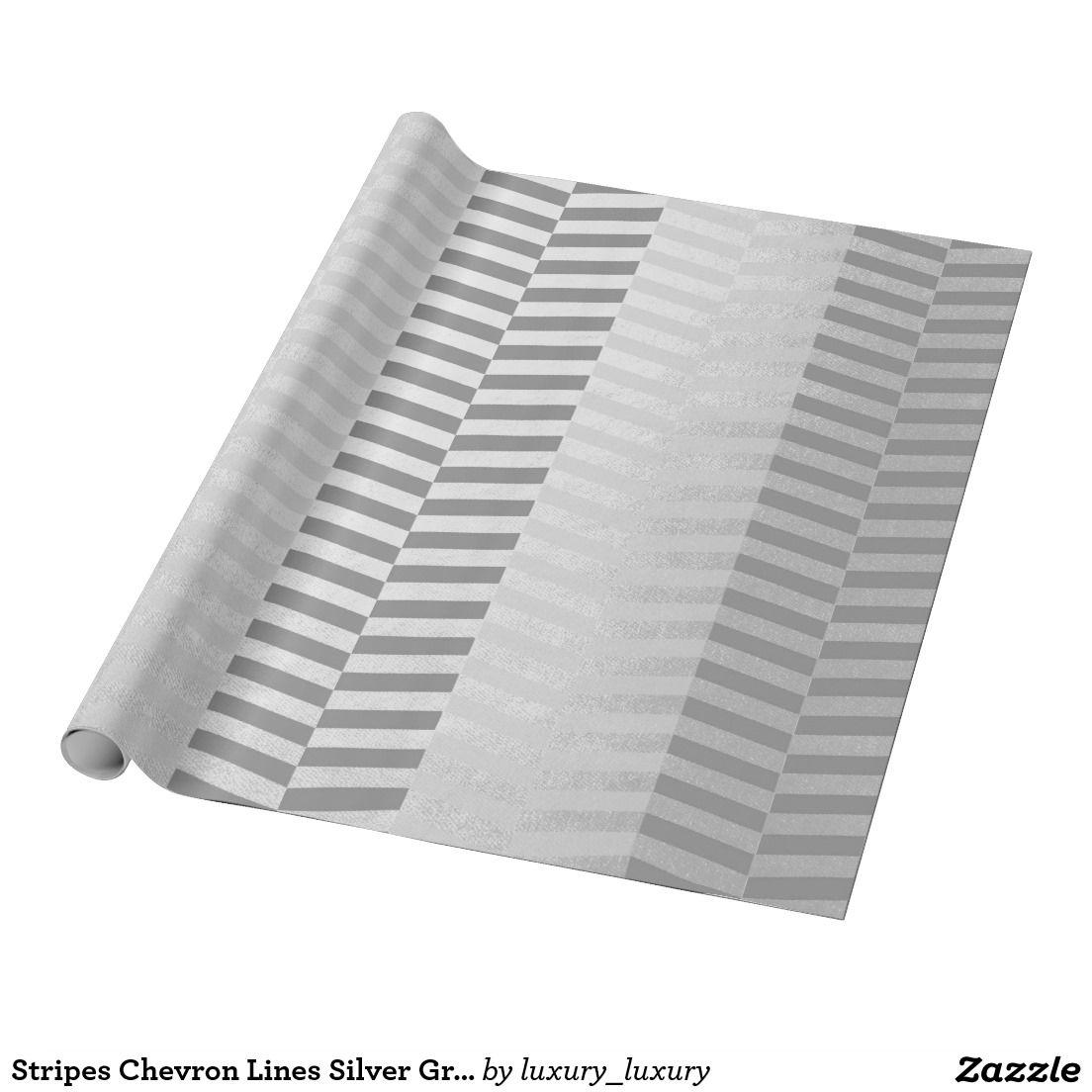 Stripes Chevron Lines Silver Graphite Vip Gray Wrapping Paper