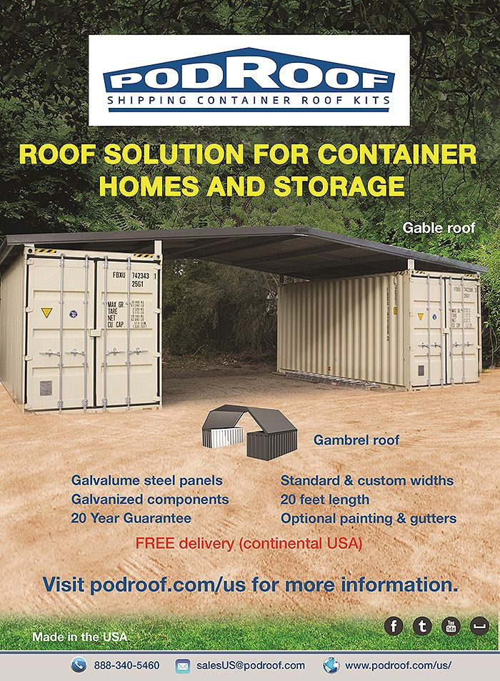 Podroof Steel Shipping Container Roof Kits Now Available In United States Off Grid World Container House Shipping Container Building A Container Home