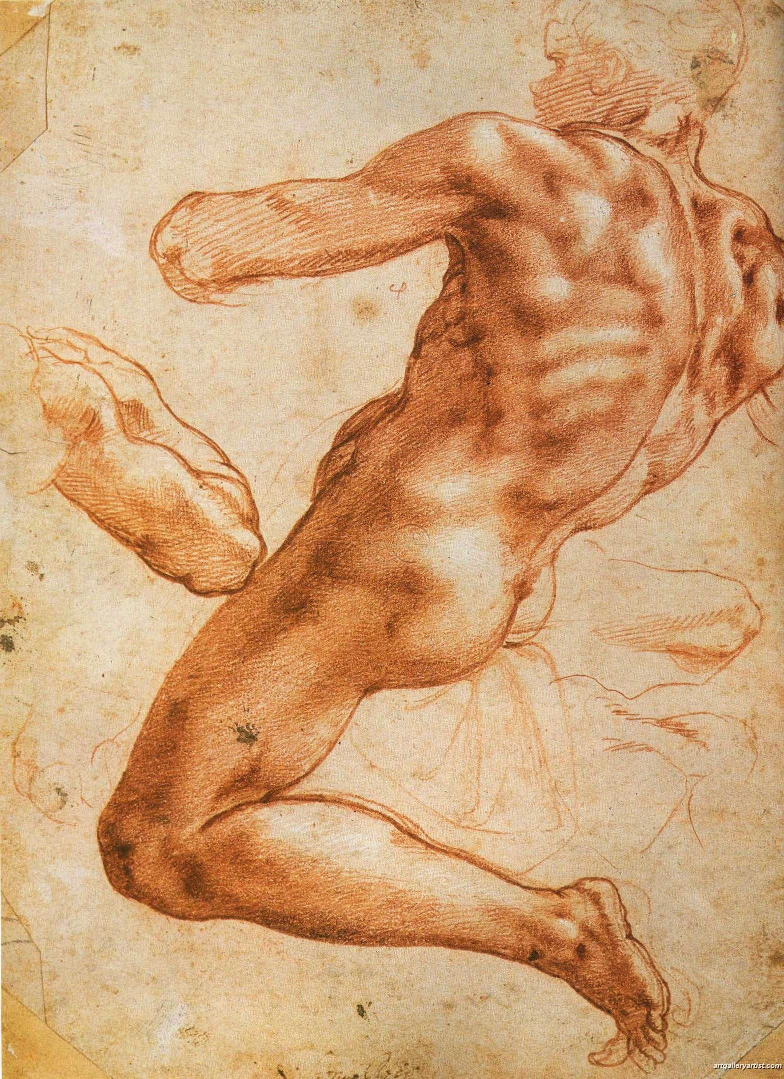 Estudio de hombre desnudo de Miguelangel  Michelangelo