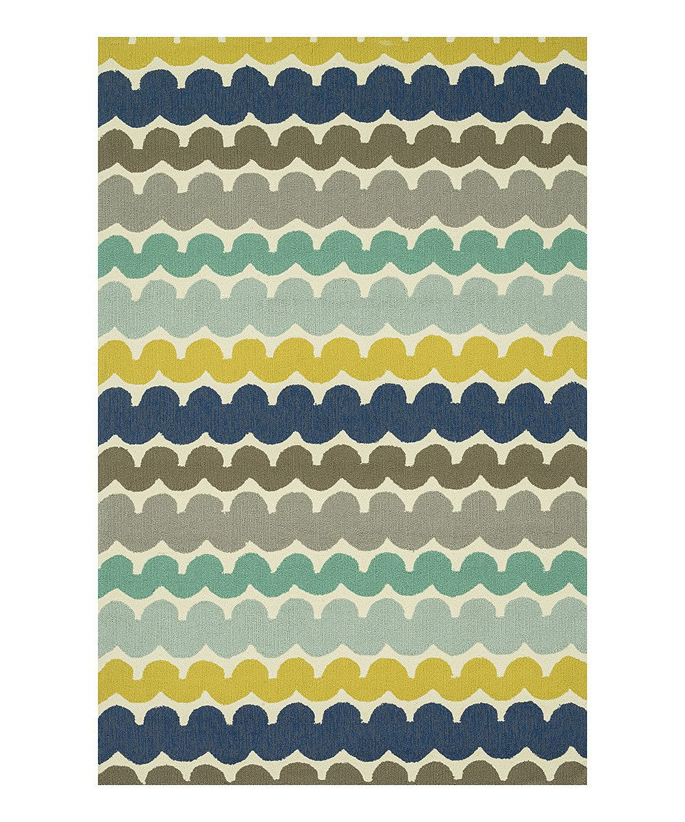 This Blue Yellow Stripe Ventura Indoor Outdoor Rug By Loloi Rugs