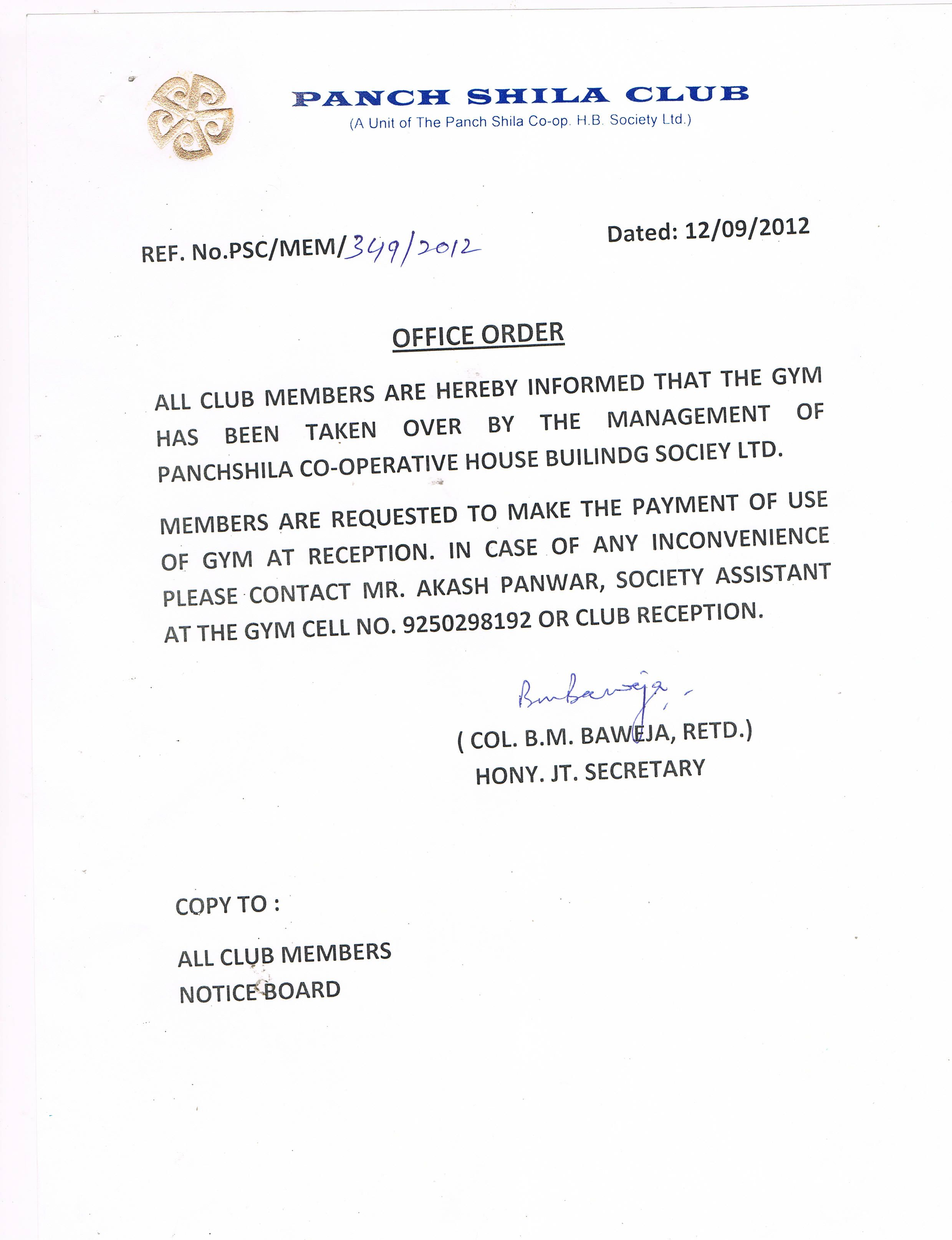 panchshila society club park new delhi gold gym member letter