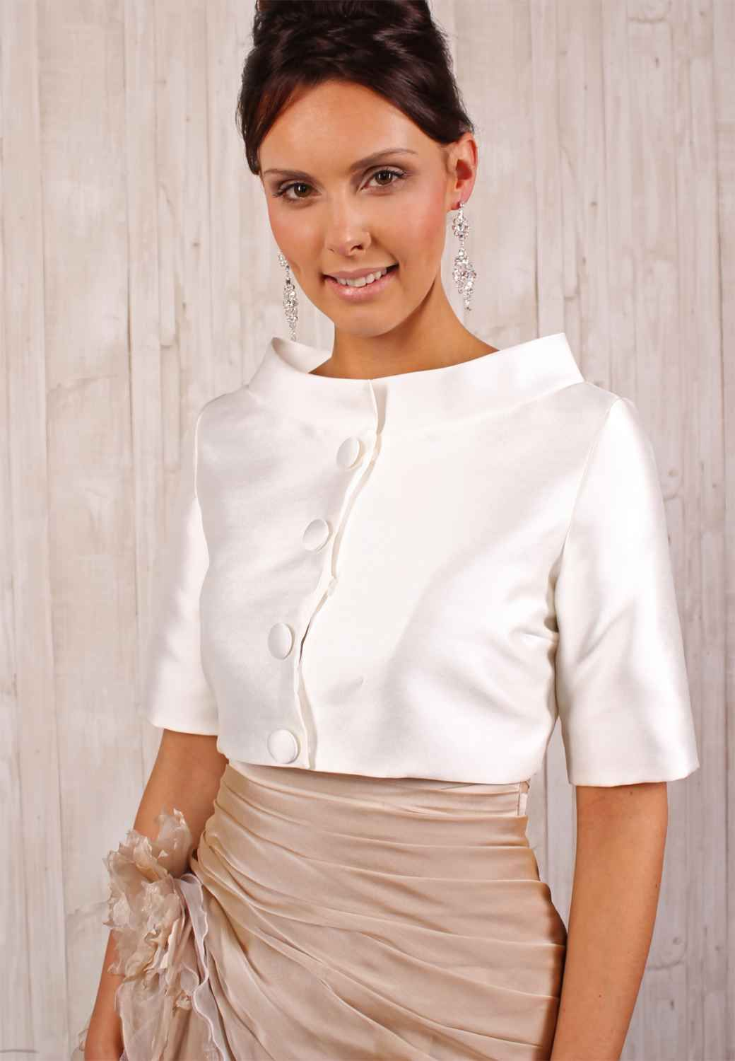 satin brautj ckchen blazer bolero im 60er jahre look mit kragen in 2018 hochzeit pinterest. Black Bedroom Furniture Sets. Home Design Ideas