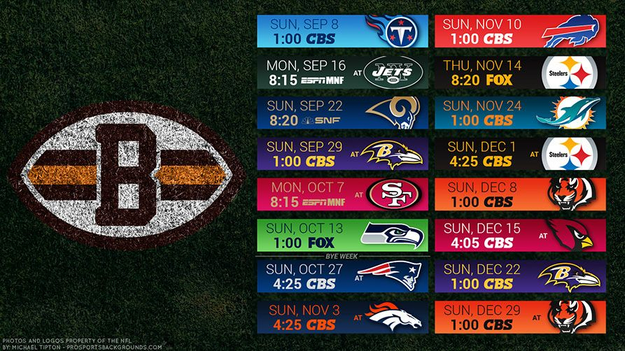 Cleveland Browns 2019 Desktop PC Field NFL Schedule