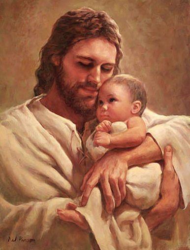 En brazos de Jesús.