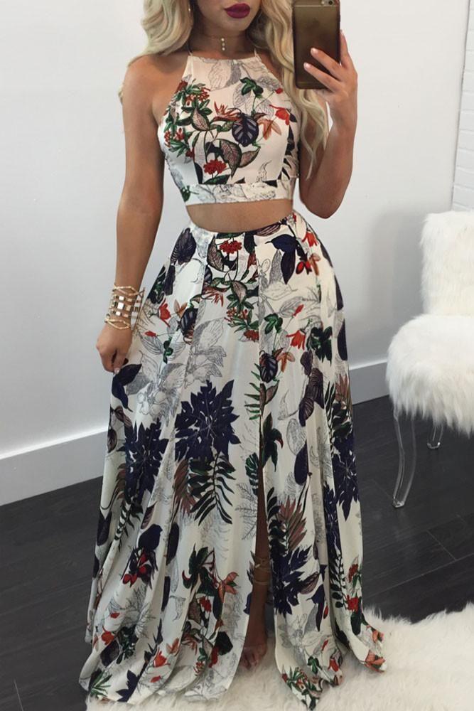 2e2334dc8e2c0f Trendy Floral Backless Crop Top Split Maxi Skirt Set