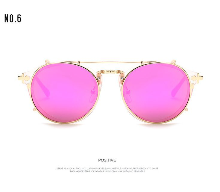 Fashion Retro Double Flip Punk Sunglasses For Unisex Clip On Sunglass Vintage Brand Sun Glass Fashion Retro Double Flip Punk Sunglasses For Unisex Clip On Sunglass Vintag...