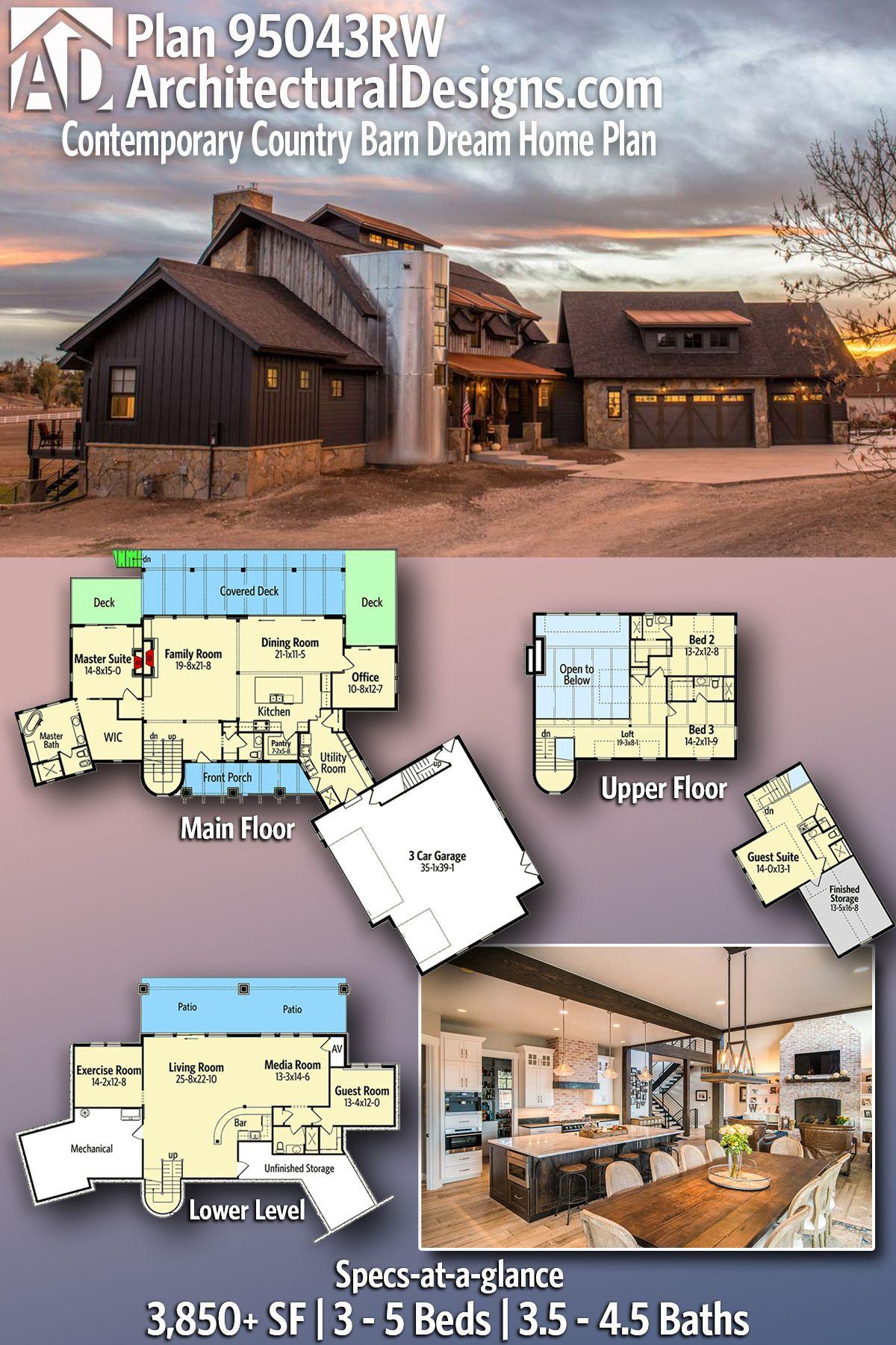 Plan 95043rw Contemporary Country Barn Dream Home Plan In 2020 Dream House Plans House Plans New House Plans