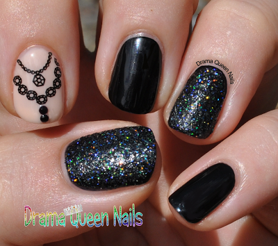 Drama Queen Nails Black Diamonds And Bys Glitterdust
