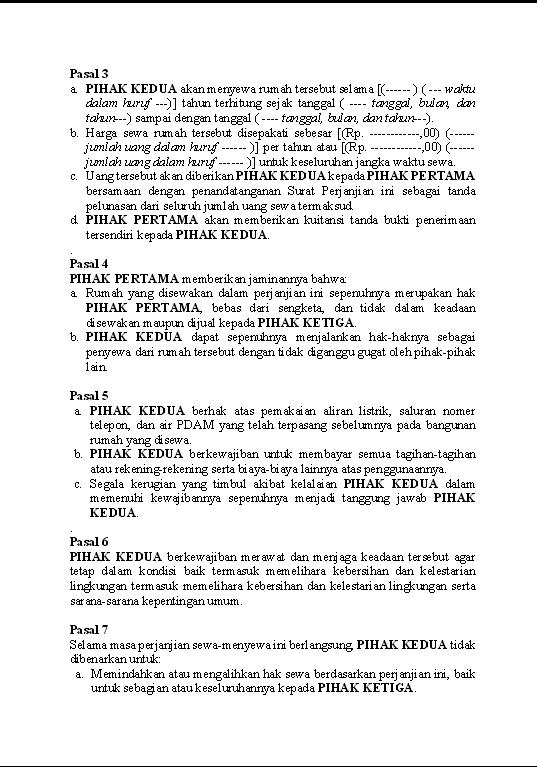 Contoh Surat Lengkap Contoh Surat Perjanjian Sewa Rumah Ruko Kios Proposal Tanggal Surat