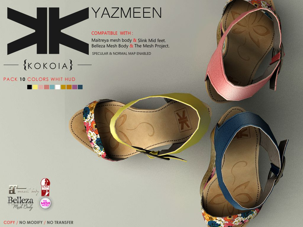 Yazmeen :: Woman :: 10 Colors | Shoes for Secondlife