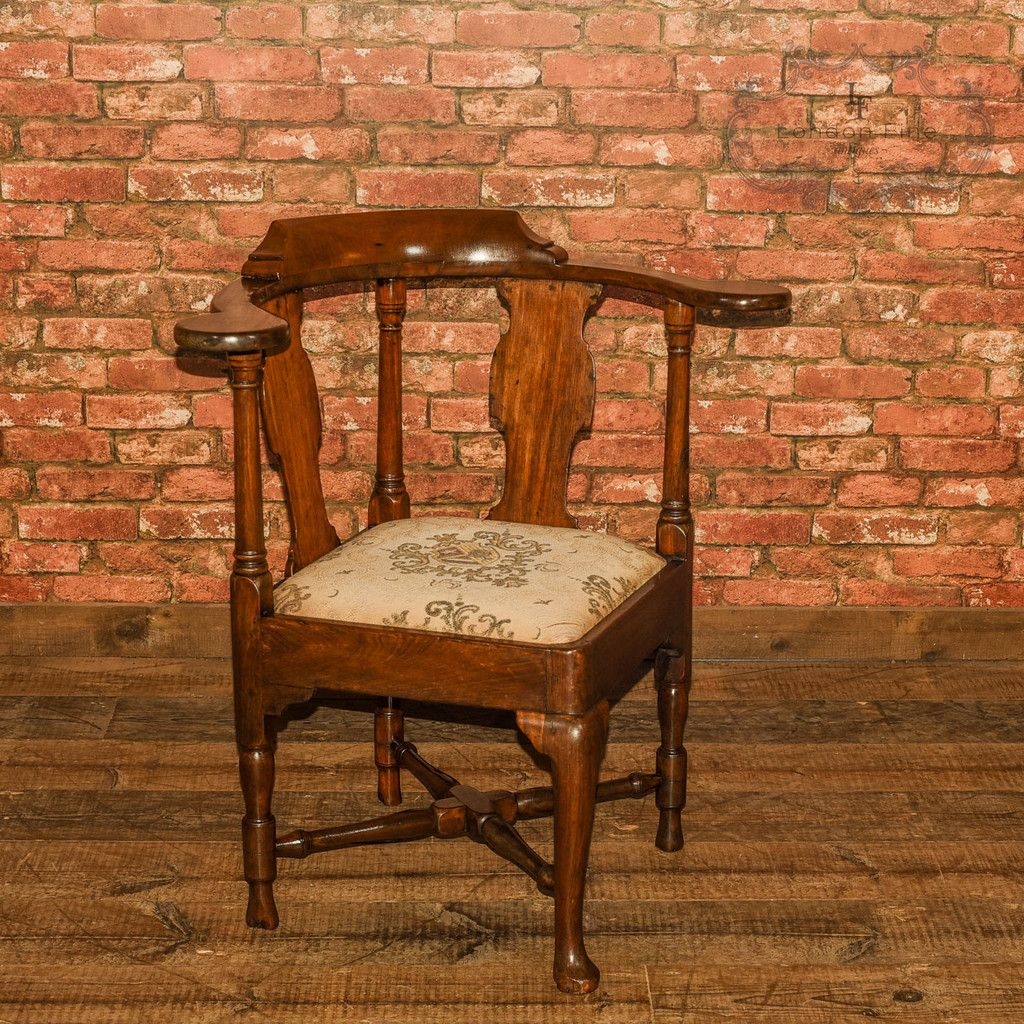 Our Stock # This is an antique, late Georgian, corner, elbow chair dating  to The frame of this delightful chair is well made and solidly jointe - Late Georgian Corner Elbow Chair, C.1790 Antique Chairs And