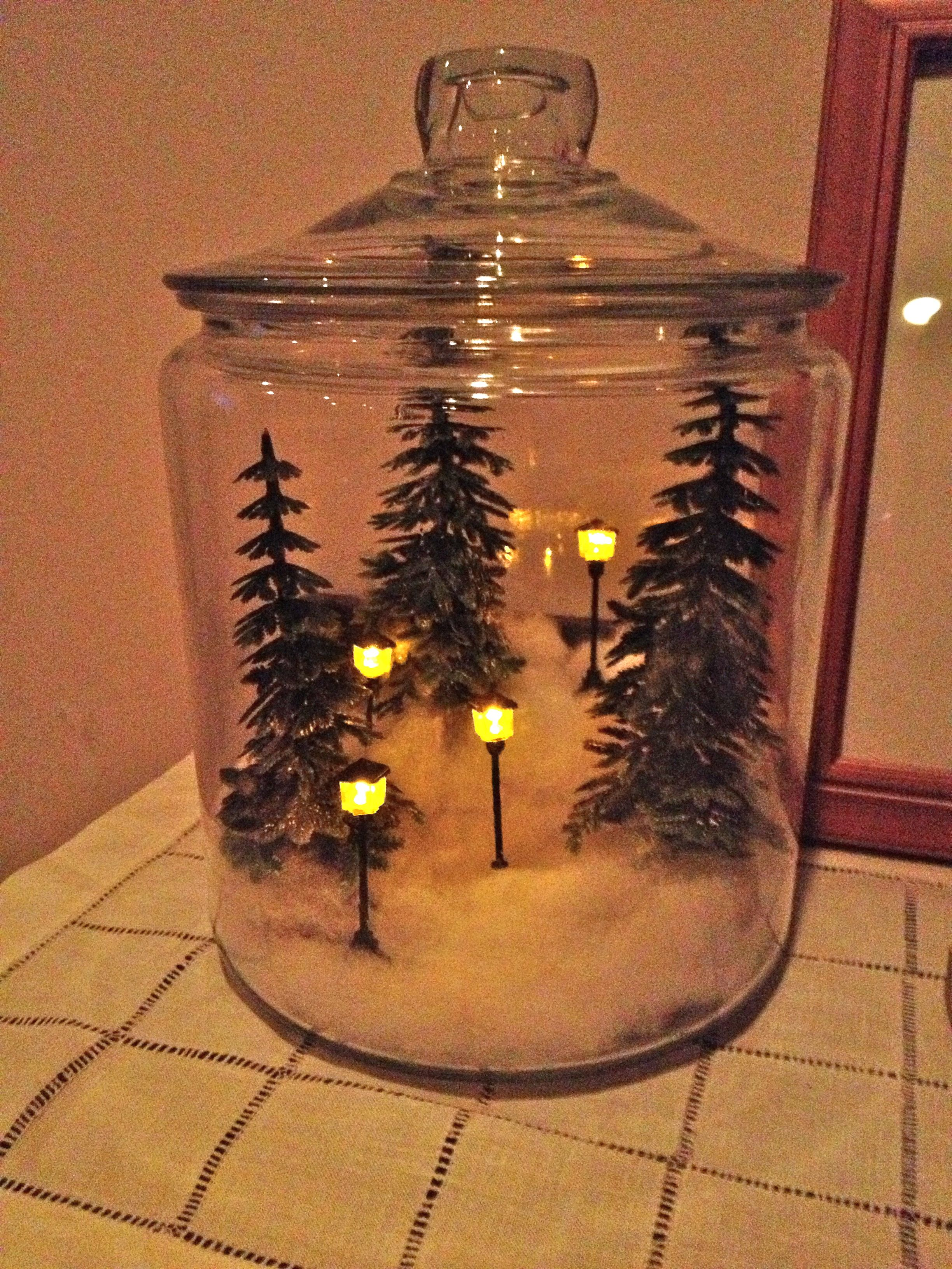 My Mini Winter Wonderland All Tucked Into A Large Glass Cookie Jar Christmas Jars Christmas Centerpieces Christmas Decorations Rustic