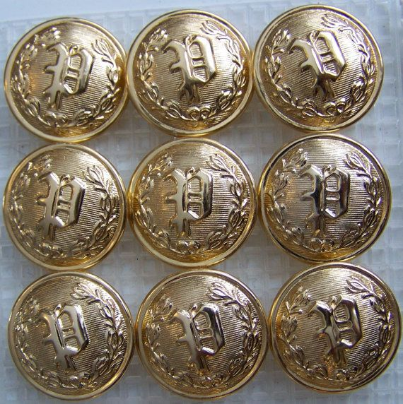 "P Police Uniform Buttons Waterbury Button Co Gold Toned 7//8/"" NOS Metal VTG"