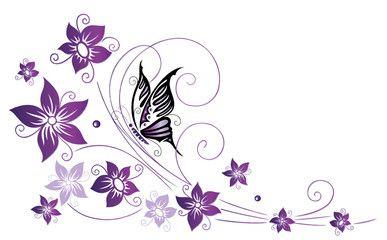 Vektor Ranke Flora Bluten Schmetterlinge Lila Violett Tatoo