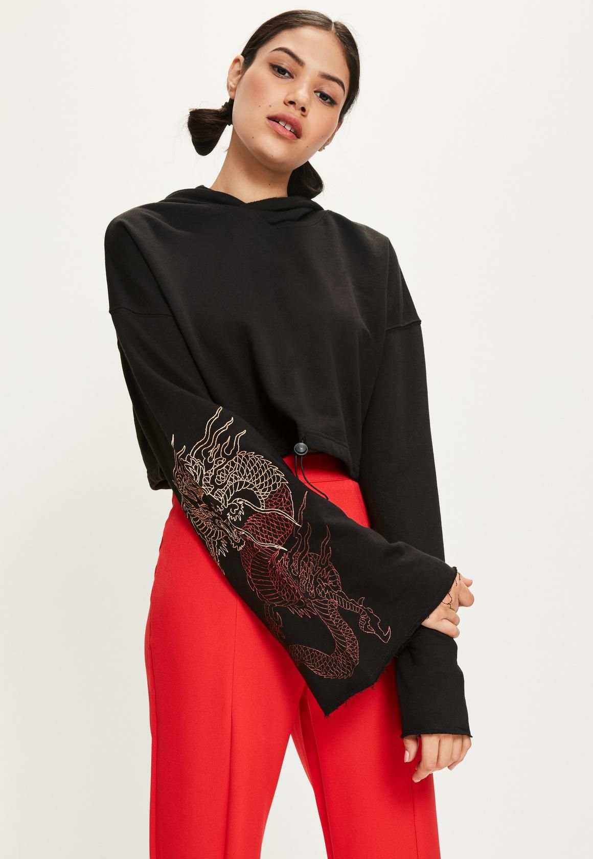 f35072baff4 Missguided - Black Embroidered Flare Sleeve Cropped Hoodie   Y2K ...