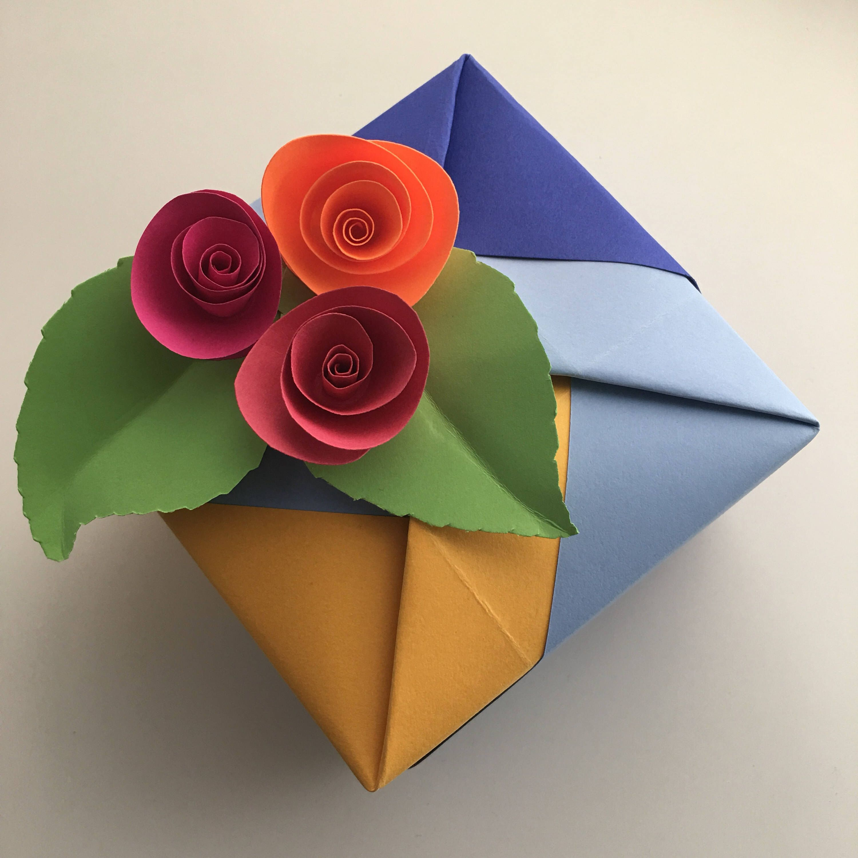 Origami Box 45 Inch With Paper Flower Gift Tag Topper By