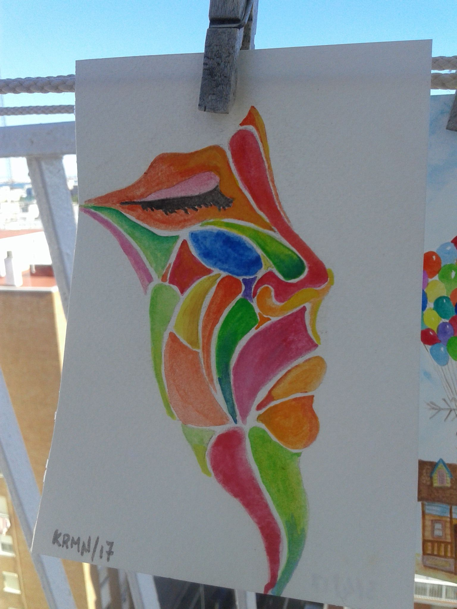 Acuarela. Watercolors. Rostro abstracto.