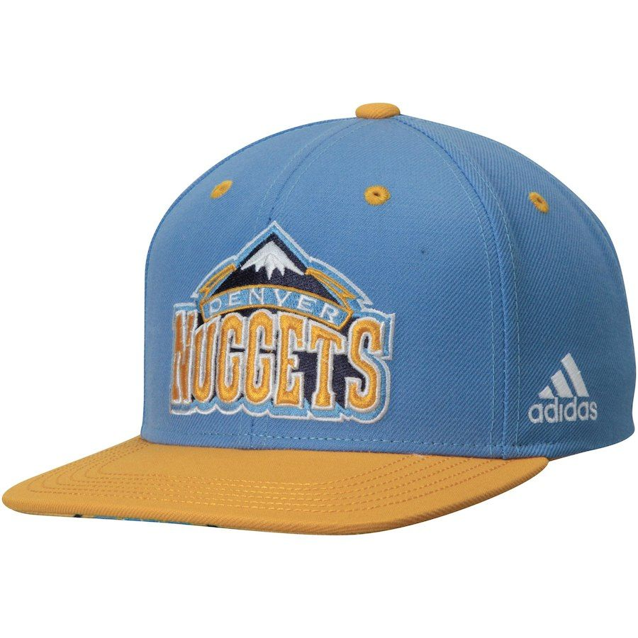 sports shoes 1f1fd 7441a Youth Denver Nuggets adidas Light Blue Gold On Court Snapback Hat,  24.99