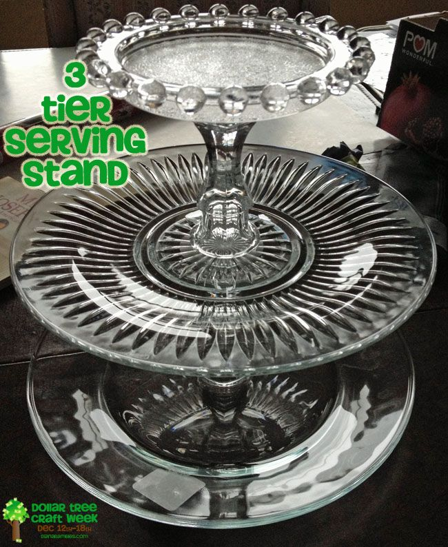 Diana Rambles Diy 8 3 Tier Serving Stand All From Dollar Tree Serving Stand Diy Craft Table Diy