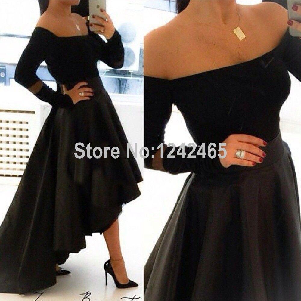 Click To Buy Asymmetrical Off Shoulder Long Sleeve Black Prom Dresses Floor Length Short Front Long Back Black Long Sleeve Prom Dress Party Gowns Dresses [ 1000 x 1000 Pixel ]