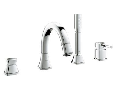 Grohe Grandera Double Handle Desk Mount Roman Tub Faucet With Hand Shower Finish Chrome Roman Tub Faucets Tub Faucet Bathtub Faucet
