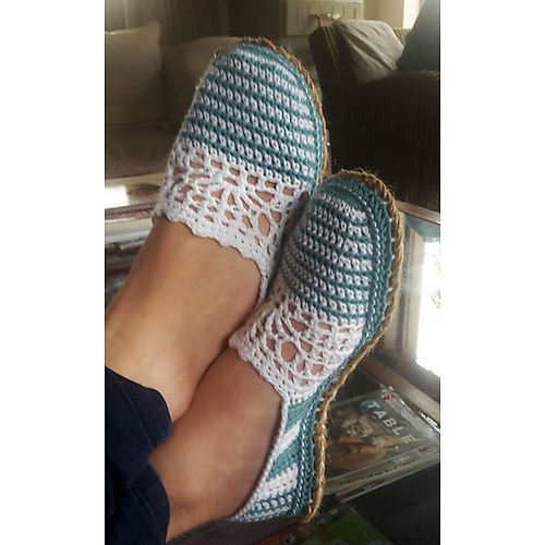 Lace & Stripe Slippers pattern by Sophie and Me-Ingunn Santini