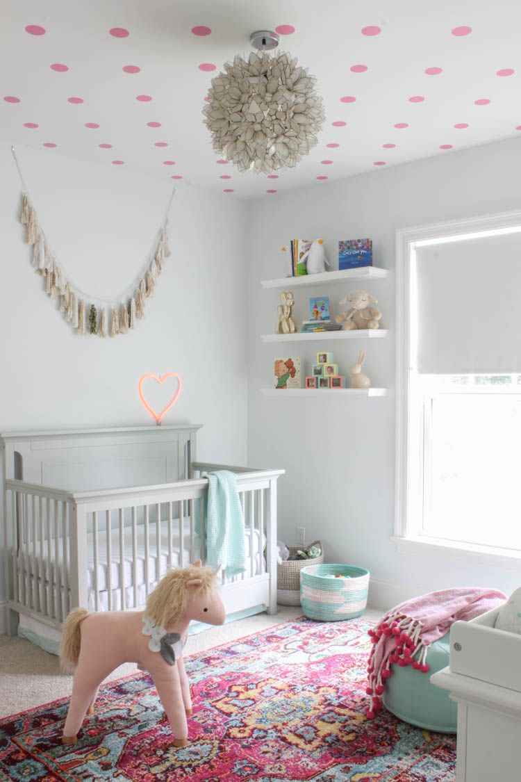 A Beautiful Whimsical Magical Baby Nursery Featuring Polka Dot Ceiling Lotus Chandelier Unicorn Pink Flamingos Penguins And Gold Erfly Fit