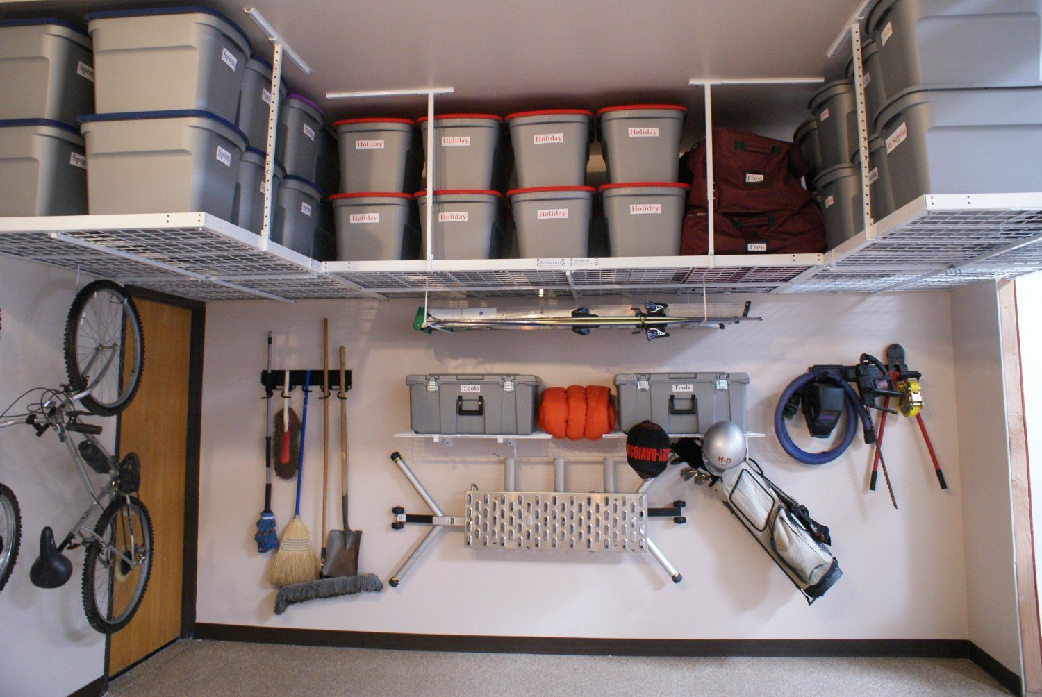 hung system pulley ceiling overhead diy build storage shelves garage rafter systems ideas