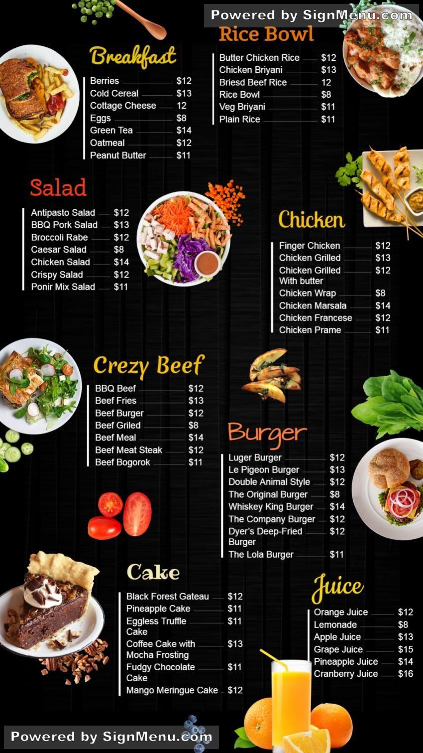 Restaurant Catering Menu Ideas