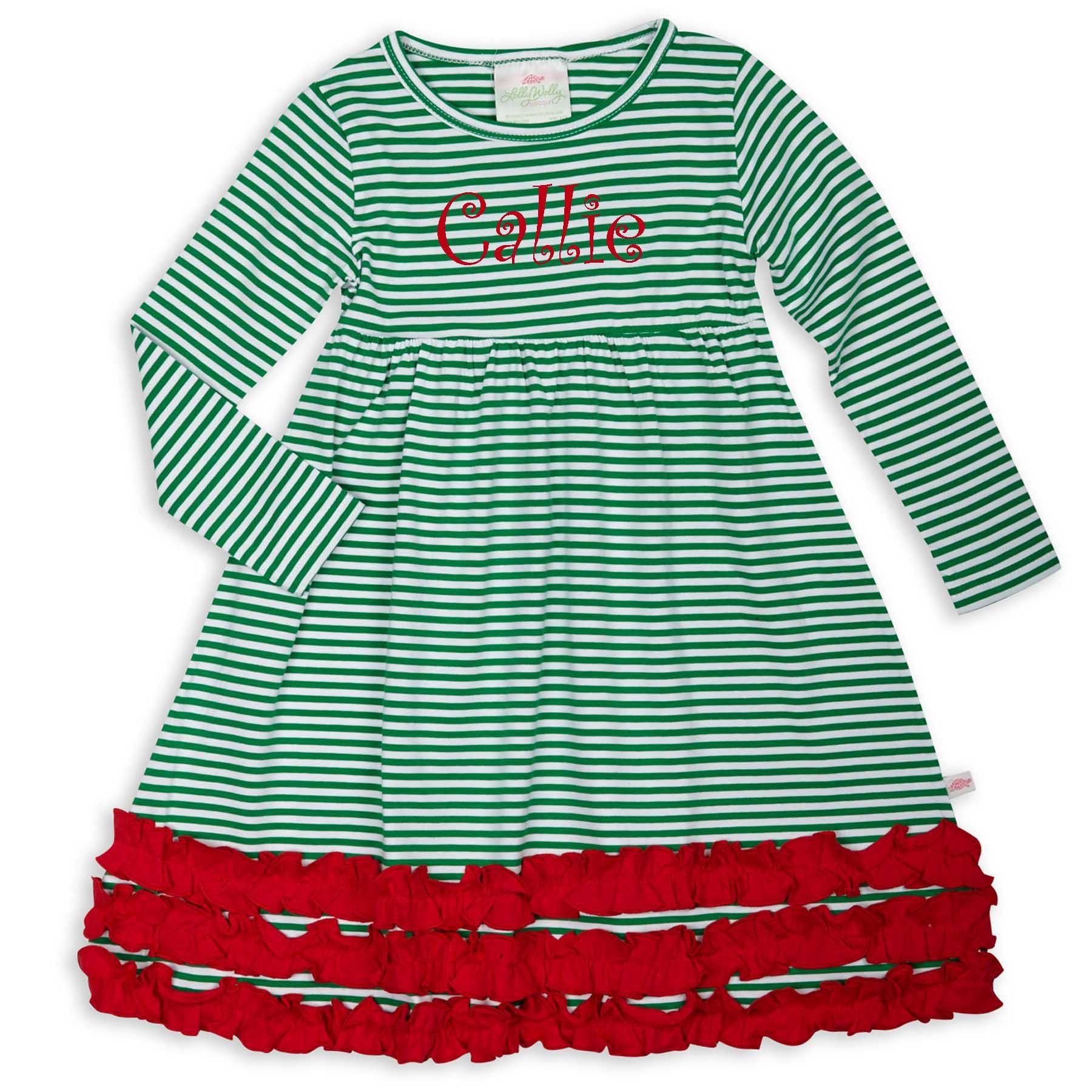 Green stripe red long sleeve squinchy cotton dress products
