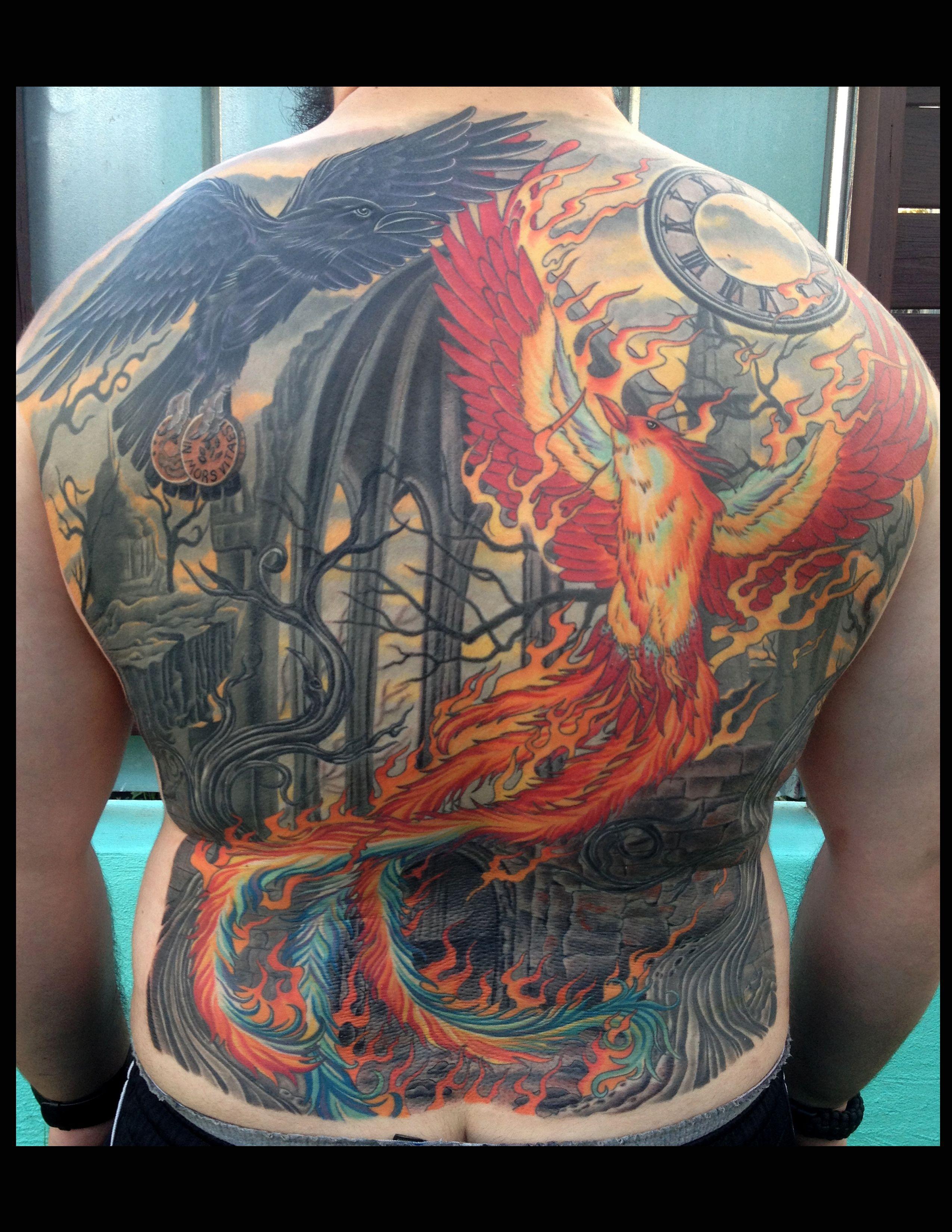 Phoenix tattoo back piece tattoo raven tattoo berlin