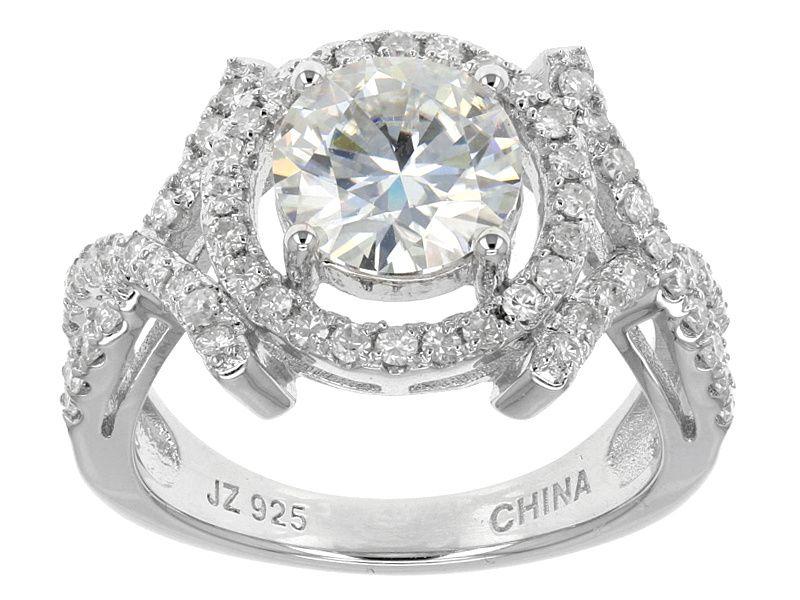 Moissanite Fire Tm 2 50ct Diamond Equivalent Weight Round Platineve Tm Ring Online Jewelry Moissanite Jewelry Jewelry