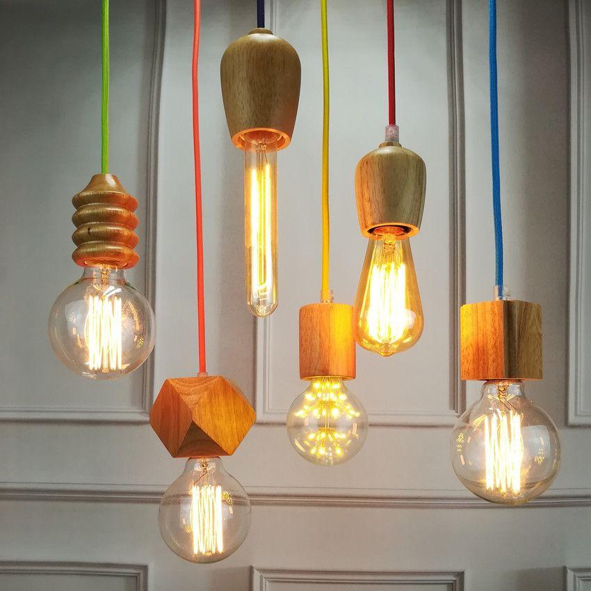 Vintage Pendant Light Oak Wood Retro Lamp Color Wire E27 E26
