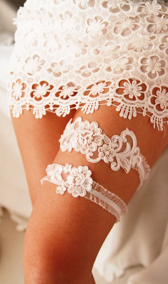 Wedding Garter Bridal Ivory Lace Set By NAFEstudio