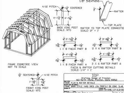 Gambrel Roof 10 X 12 Barn Style Shed Plan 10x10 Shed Plans