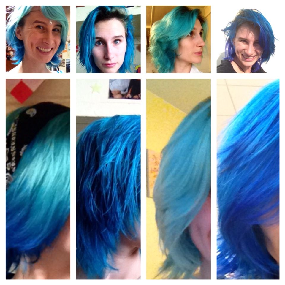 These Are The Most Recent Stages Of My Blue Hair First Panel Is Faded Manicpanic Atomicturquoise With Badboybl Blue Hair Color Correction Hair Hair Styles