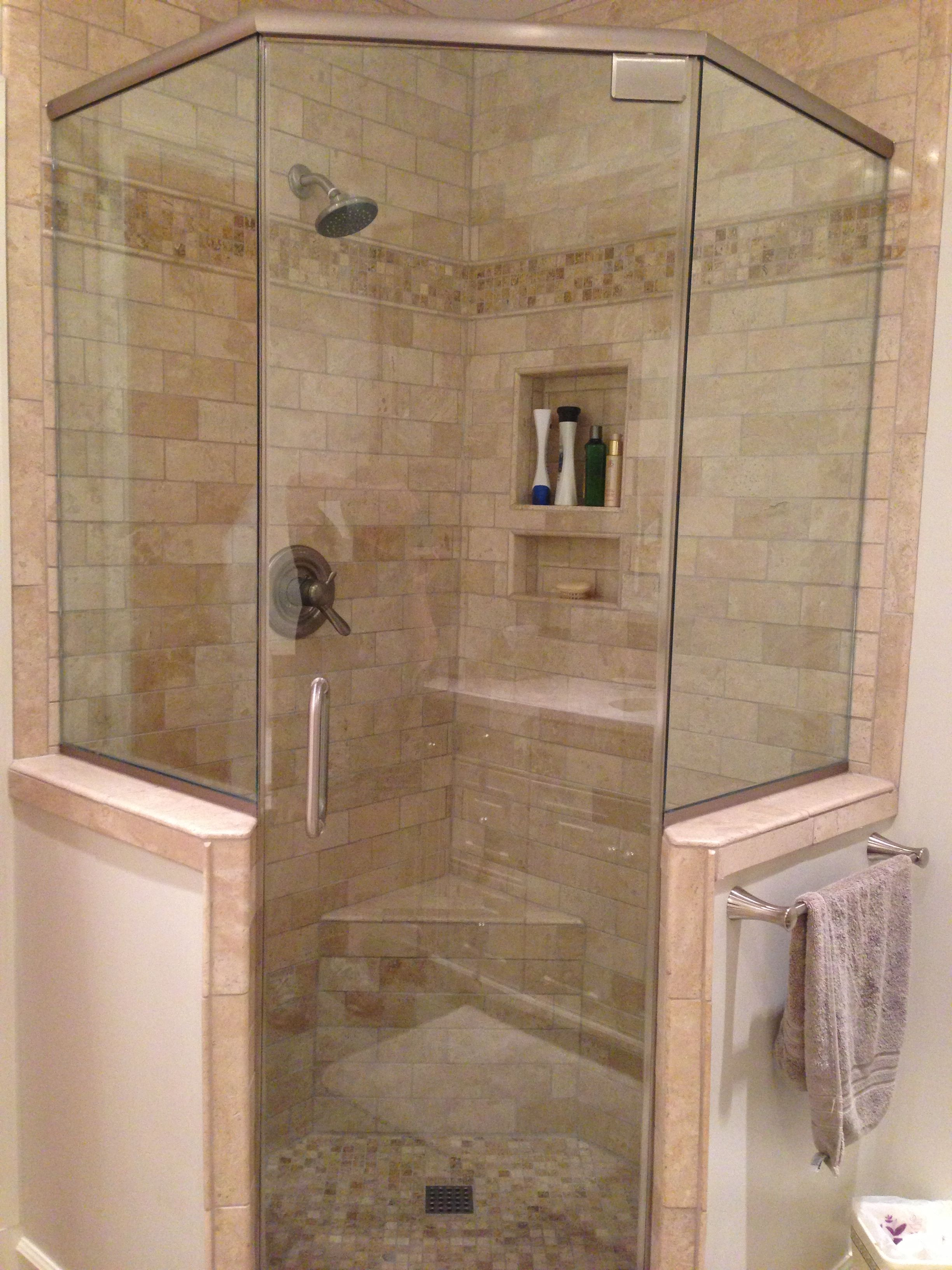 Master Bath Glass Shower With Knee Wall Bathroom Shower