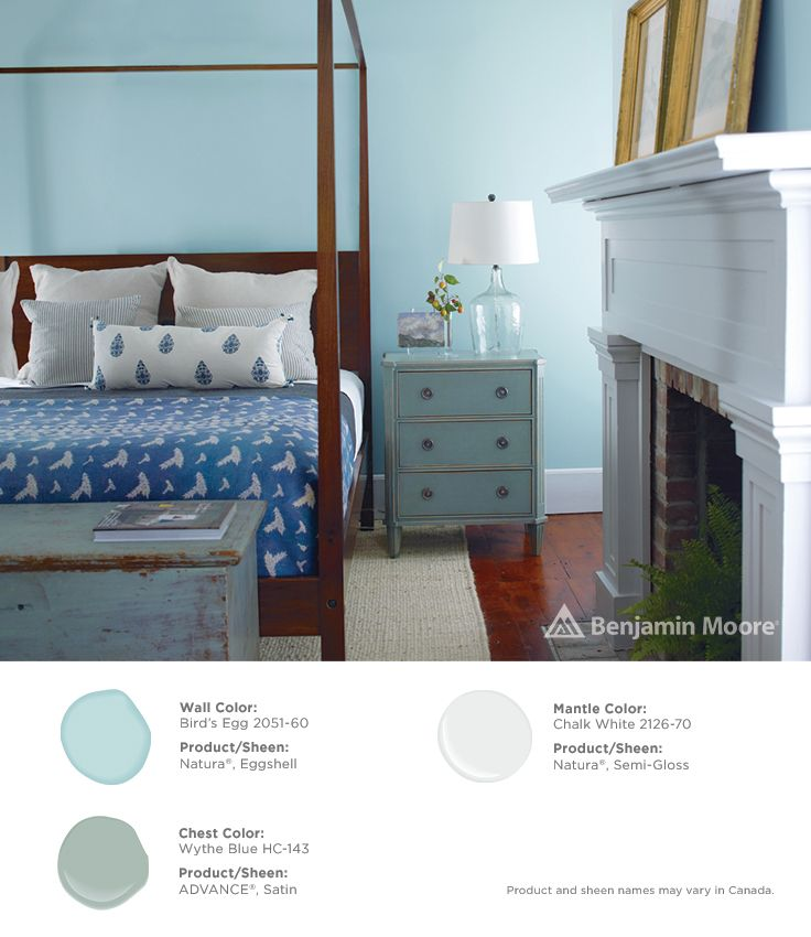 A bedroom filled with sweet dreams. #BenjaminMoore Bird's Egg 2051-60 with Natura, eggshell finish (wall); Wythe Blue HC-143 with ADVANCE, satin finish (chest); and, Chalk White 2126-70 with Natura, semi-gloss finish.